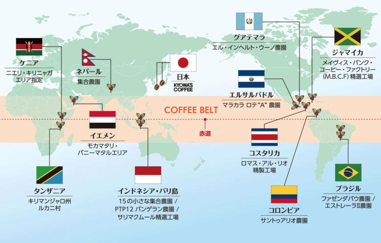 コーヒー豆の生産量が多い地帯はコーヒーベルト