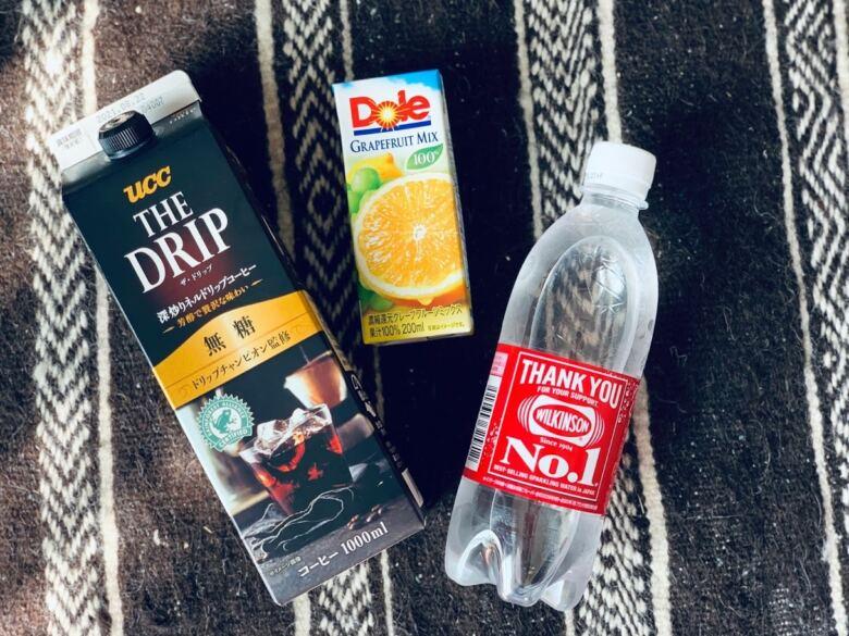 コーヒー+炭酸+グレープフルーツジュース